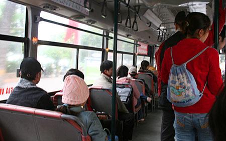 Winter im Bus.